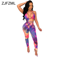 Rainbow Tie Dyeing Sexy Bandage Jumpsuit Women Waist Band Cut Out Backless Skinny Bodysuit Summer Halter Sleeveless Party Romper rainbow patch contrast binding halter romper