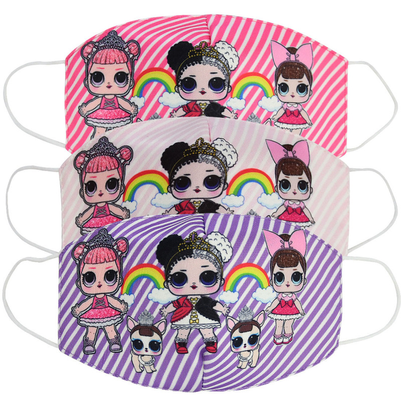 2020 Unisex Cotton Half Face Mouth Mask Adult Kids Breathable Kpop Cartoon Doll Printed Dustproof Muffle Respirator ZXT221