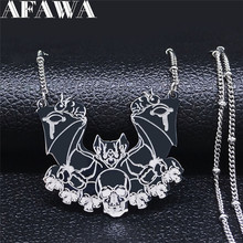 2021 Gothic Vampire Bat Skull Stainless Steel Chocker Necklace Women Animal Silver Color Necklaces Jewelry collar mujer N4222S02