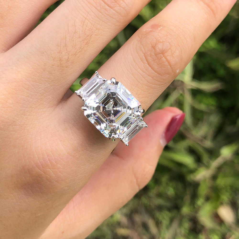 Colgantes PANSYSEN 12MM cuadrado creado anillos de piedras preciosas de Aguamarina molissanita para mujeres anillo de boda de Plata de Ley 925 regalo