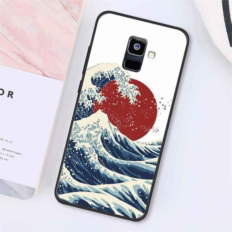 MaiYaCa sztuka przedstawiająca falę japońskiej zielonej Illust klasyczny telefon etui do Samsung Galaxy A7 A50 A70 A40 A20 A30 A8 A6 A8 Plus A9 2018