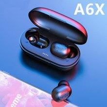 سماعات أذن A6x TWS مزودة بتقنية البلوتوث 5.0 تعمل باللمس وبصمة الإصبع وسماعة رأس ستيريو لاسلكية مع خاصية إلغاء الضوضاء لهاتف iPhone شاومي