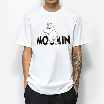 Moomins Day Letter Print T-shirt Graphic Tees Men 100% Cotton Funny T shirts Male Harajuku Shirt Tops Tee shirt Clothing letter print stepped hem tee