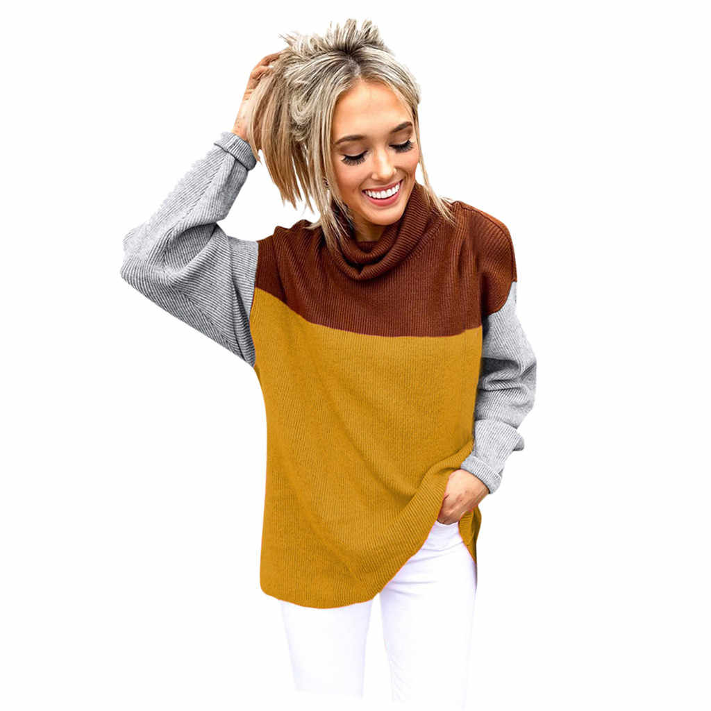 New women fashion tops and blouses Women Spring Winter Patchwork  O-neck Long Sleeve knitting Loose  Blouse Tops Casual style#8