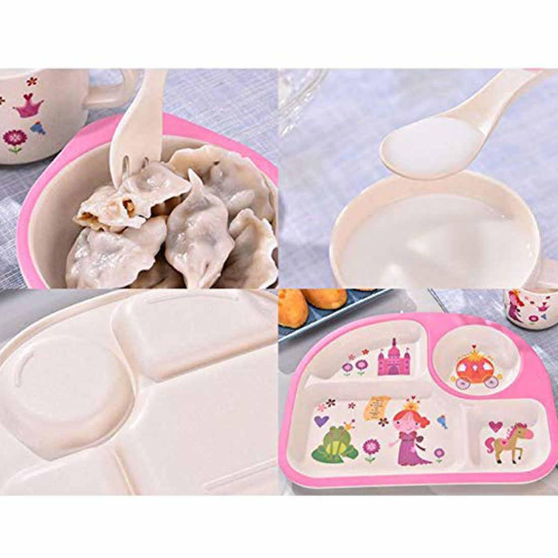 5 pçs/sets Placa De Fibra De Bambu Do Bebê Crianças Talheres Prato Tigela Dinnerware Conjunto Garfo Colher Copo Food Alimentação Bonito Segurança Para crianças