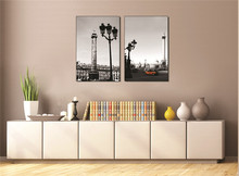 Architectural Decorative Painting Frameless Black and White Style Long Two Piece High-quality Canvas Paintings