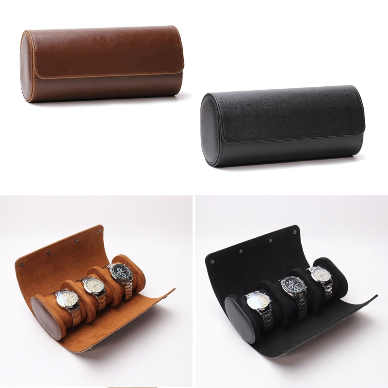 3 Slots Watch Roll Travel Case Chic Portable Vintage Leather Display Watch Storage Box with Slid in Out Watch Organizers