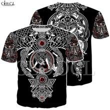 Nórdico viking tatuagem arte crânio t camisa dos homens piratas 3d impressão t shirts vikings rei manga curta casual topos transporte da gota