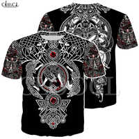 Nordic Viking Tattoo Art Skull T Shirt Women Men Pirates 3D Print T-shirts Vikings King Short Sleeve Casual Tops Drop Shipping