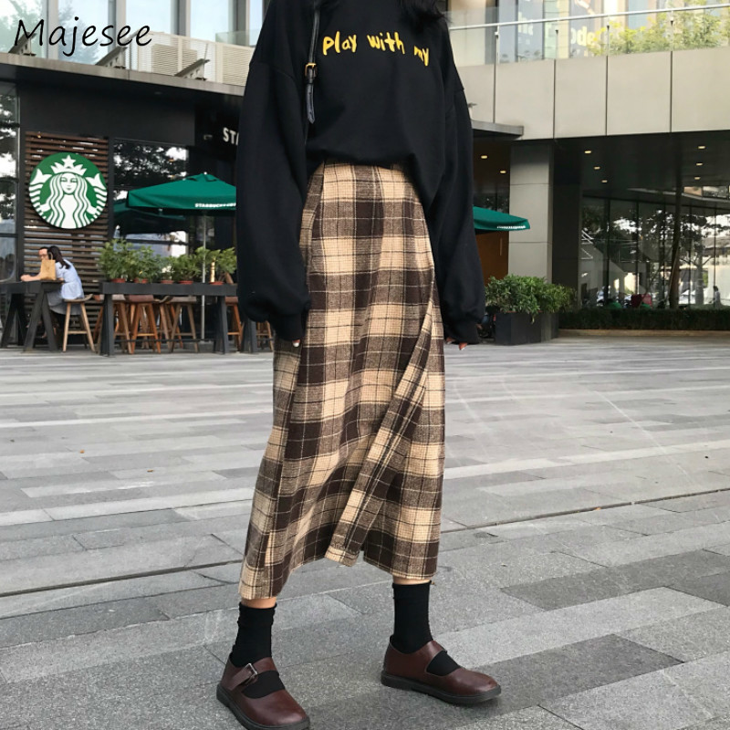 Long Skirt Women Harajuku Plaid High Waist Skirts Womens Vintage Novelty Females Kawaii Korean Fashion Elegant A-line All Match