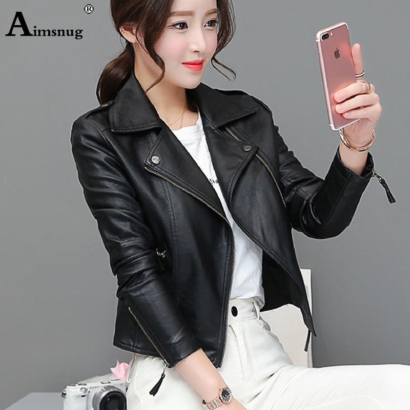 Women Cute Faux Pu Leather Jacket Girls