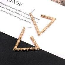 Vintage Gold Color Geometric Triangle Hoop Earrings Shiny Metal Big Loop Statement Earrings for Women Girl Fashion Jewelry Gift недорого
