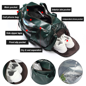 Image 2 - PU Leather Gym Bag Large Training Sports For Men Women Travel Yoga Handbag Fitness Shoulder Crossbody Dry Wet Gym Bags XA722WD
