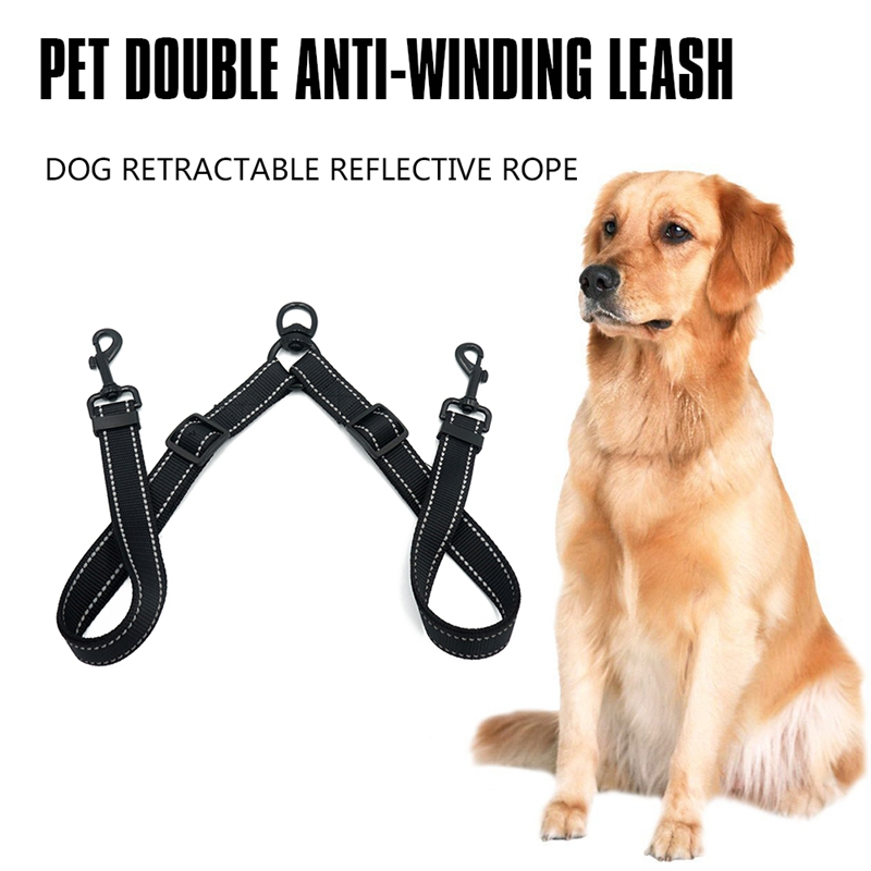 New Double Leash Coupler for Large Dogs Adjustable Heavy Duty Nylon Splitter for Two Big Dogs