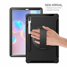 "Case For Samsung Galaxy tab S6 SM T860 SM T865 10.5"" Cover Shockproof Armor kickStand hand Strap PC Hard Case for Galaxy Tab S6"