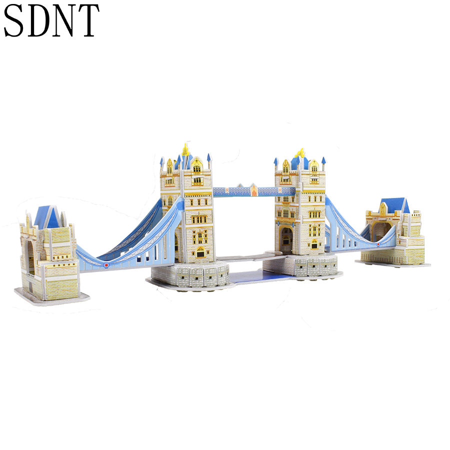 3D London Bridge Puzzle Toy World Attractions Educational Model Building Kits Toys Gifts For Kids Hobbies Home Office Decoration