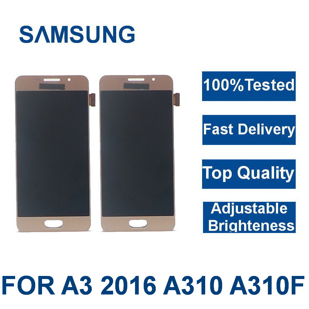 100%Tested For <font><b>Samsung</b></font> Galaxy A3 2016 A310 <font><b>A310F</b></font> A310H A310M <font><b>LCD</b></font> Display Touch Digitizer Screen Assembly Replacement With frame image