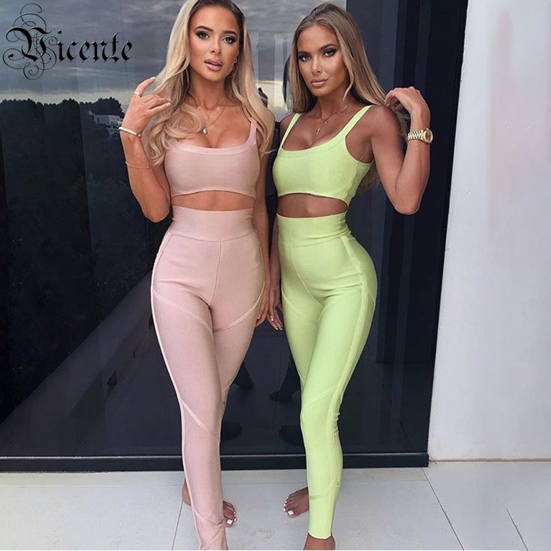 Vicente All Free Shipping 2019 New Trendy Two Pieces Set Sexy Spagehtti Strap Celebrity Party Club