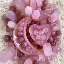 Fabryka hurtownia naturalny kwarc różany miska serce różowy prezent rzeźbiony kształt księżyca kryształ pięciopunktowy Pentagram figurka czakra