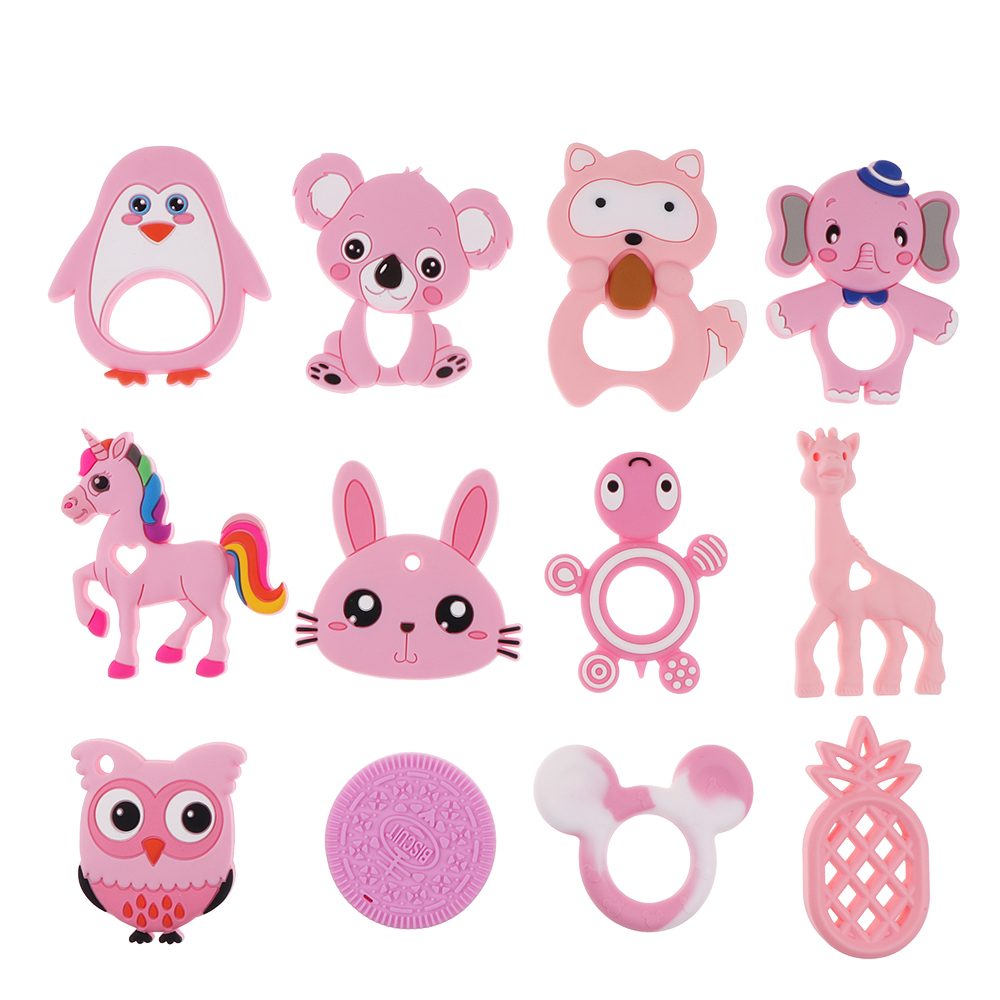 1 PC Silicone Teethers 1PC Baby Teething Necklace Toy Fox Panda Elephant Food Grade Silicone Cartoon Nursing Tiny Rod Baby Toys