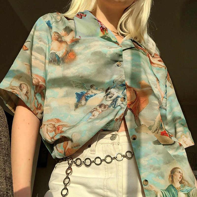 Vintage Angel Print bluzki damskie z krótkim rękawem luźna cienka koszula Casual turn-dpwn Collar Streetwear damskie letnie bluzki