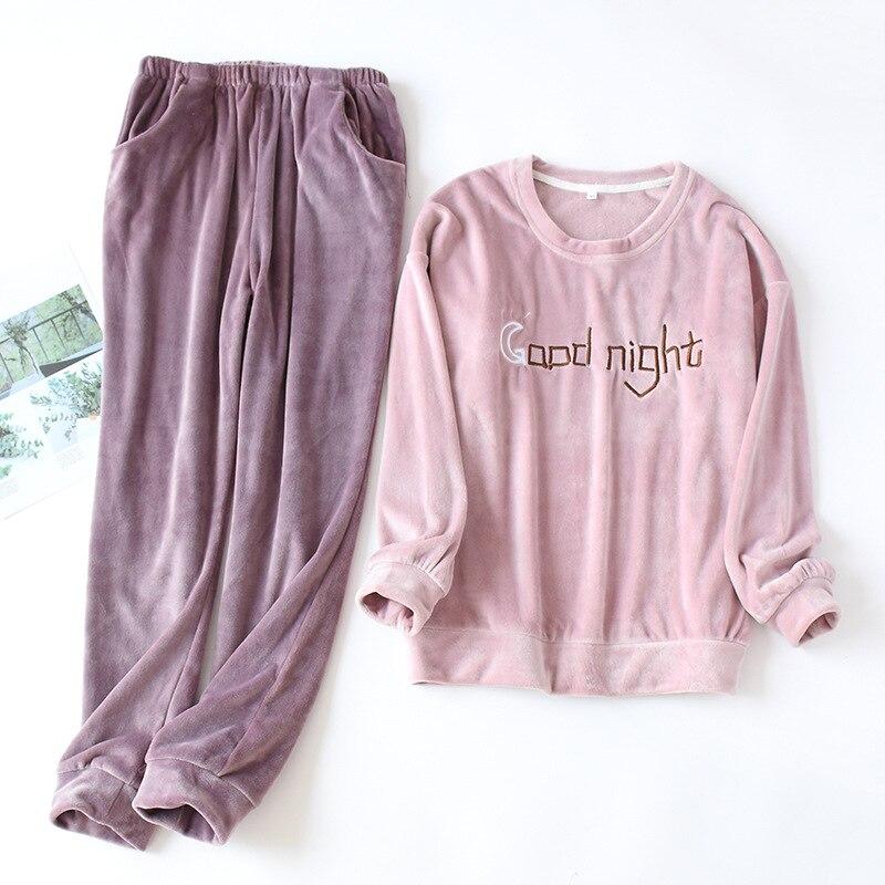 JULY'S SONG Woman Man Autumn Winter Pajamas Set 2 Pieces Flannel Sleepwear Warm Couple Pajamas  Pajamas Long Sleeve Homewear