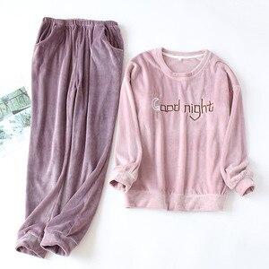 Image 1 - Пижамный комплект JULYS SONG для мужчин и женщин, комплект из 2 предметов, плотная фланелевая теплая Пижама для пар, Розовая домашняя одежда с длинным рукавом, Осень зима