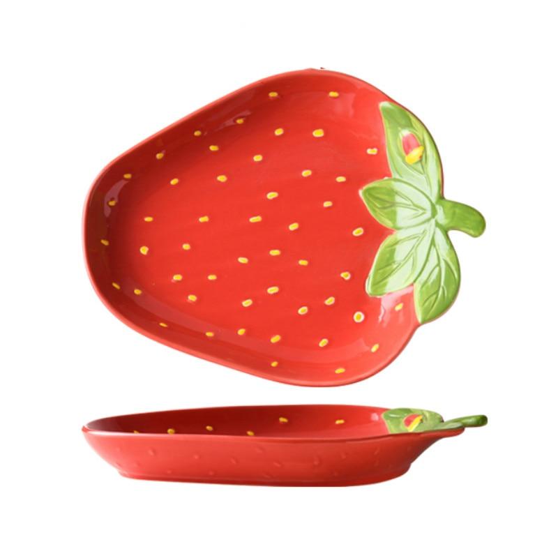 Cute Strawberry Ceramics Plate Creative Cartoons Nordic Fruit Dinner Plates Snack Fruit Plate Assiette Home Tableware DA60PZ