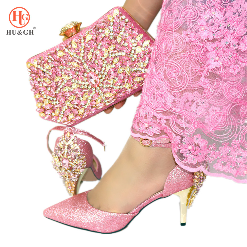 Italian Shoes and Bag To Match Set Decorated with Rhinestone African Pink Shoe and Bag Set Nigerian Women Wedding Shoe Bag Set