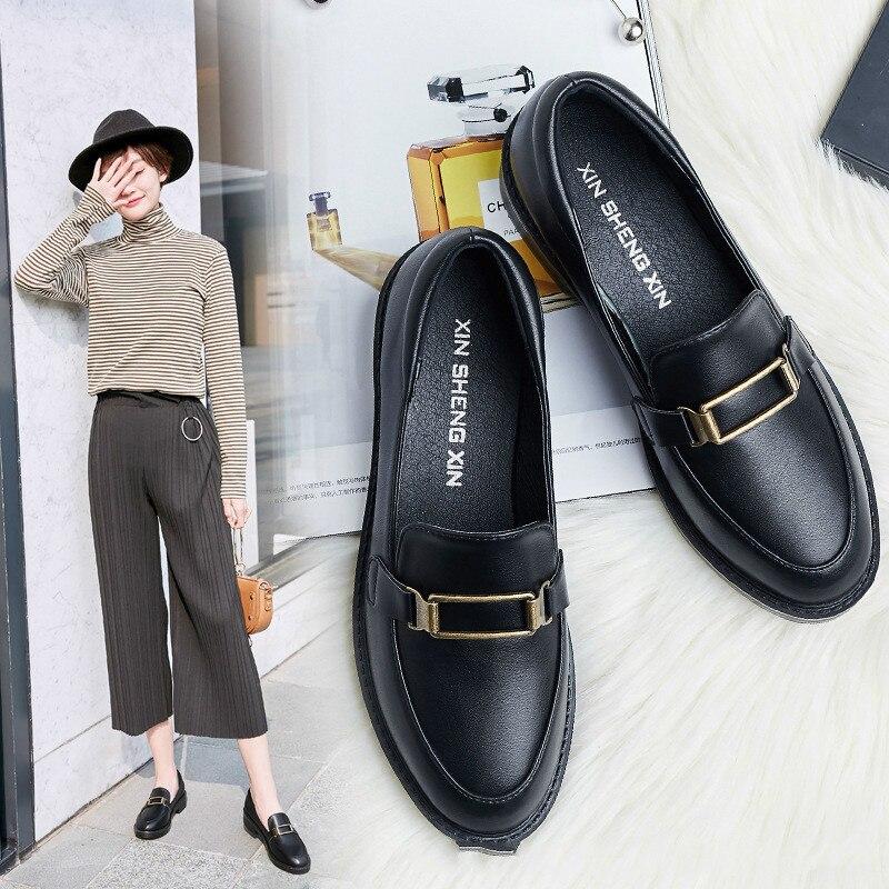 Женские туфли оксфорды на плоской подошве, с закругленным носком, на шнурках, из натуральной кожи, женские лоферы, 2019|Обувь без каблука|   | АлиЭкспресс