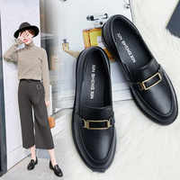 2019 New Women Flat Shoes Round Toe Lace-Up Oxford Shoes Woman Genuine Leather Brogue Women Platform Shoes Women Loafers