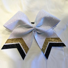 7 inch White Glitter Cheer Bow Tails Gold/Black Available in MANY Colors please ask Cheerleader bows Personalized hair