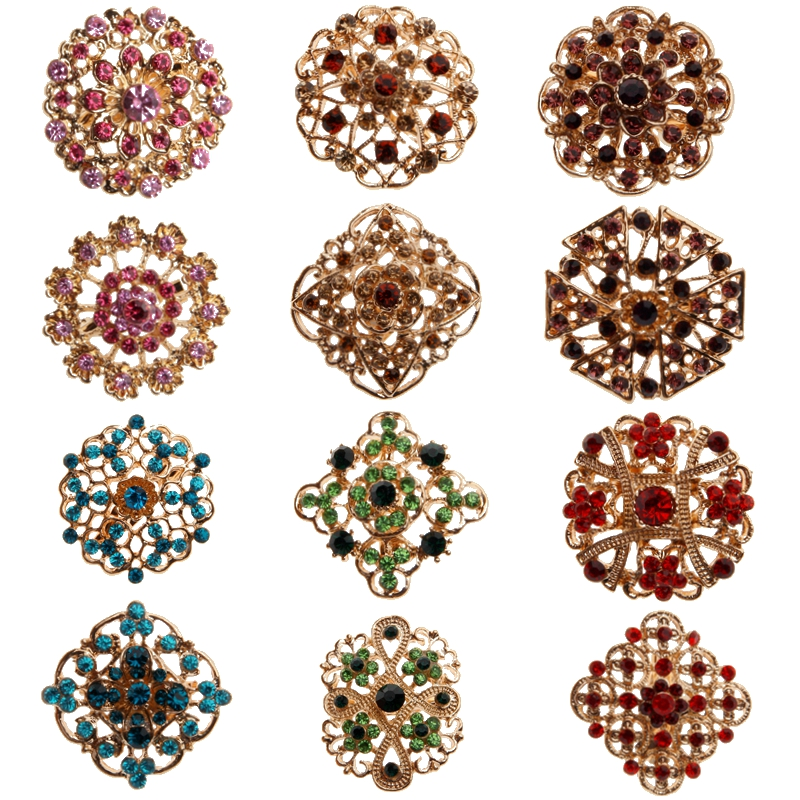 Plated Crystal Rhinestones Small Bejeweled Brooch Pins for Wedding Bridal Party Round Bouquet DIY Rhinestone Accessories