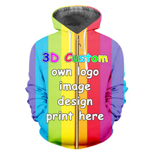 IFPD EU/US Size Customize Zipper Hoodies Women/men's 3d Custom Pictures Sweatshirt Full Body Print  Hoodie Hiphop Hooded