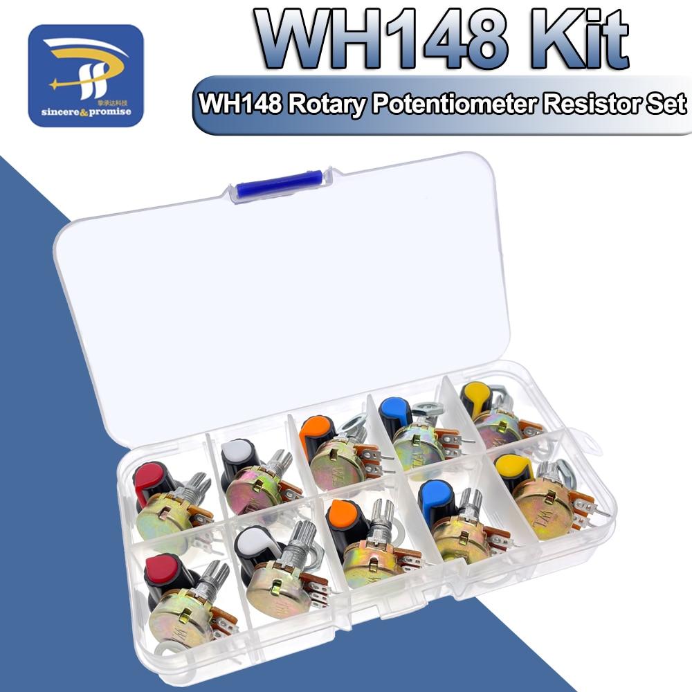 WH148 потенциометр комплект B1K 2K 5K 10K 20K 50K 100K 250K 500K 1 м 15 мм линейный подшипник с коническим поворотный Резистор Комплект 3pin с Кепки