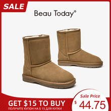 Winter Boots Beautoday Cow-Suede Ankle-Length Women Lady No Wool Slip-On Fur 08025 Natural-Fur