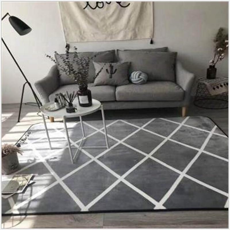 AOVOLL Area Rug for Living Room Gray Geometric Lattice Soft Carpet Bedroom Door Carpet Printed Floor Mat Rugs For Table Sofa|Carpet| |  - title=