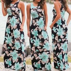 @ Fashion womens solto vestido diário sem mangas floral impressão maxi vestido com bolsos praia vestido longo fora do ombro vestido пdress dress dress dress