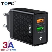 TOPK B254Q Быстрая зарядка 3,0 адаптер зарядного устройства с двойным USB ЕС Путешествия стены QC3.0 быстрое зарядное устройство для телефона для iPhone samsung Xiaomi