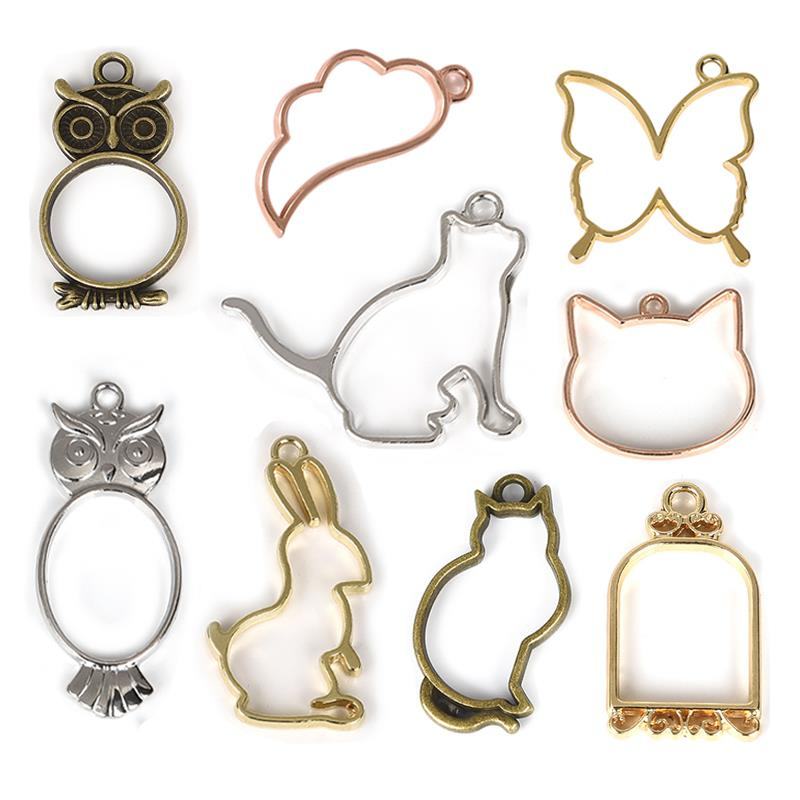 5pcs Cat Butterfly Owl Charms Pendants UV Resin Frame Metal Hollow Open Bezel Tray Animal Setting Glue Blank DIY Jewelry Making