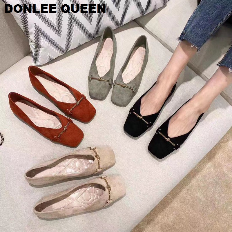 Flats Shoes Woman Casual Metal Buckle Square Toe Flats Shoes For Women Flats Comfortable Shallow Slip On Women Soft Ballet Shoes