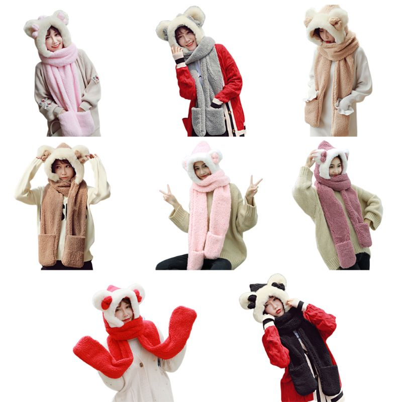 Womens Winter Plush 3 In 1 Warm Hat Cute Bowknot Bear Ears Hooded Scarf Gloves