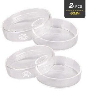 2Pcs 60mm Glass Petri Dishes w