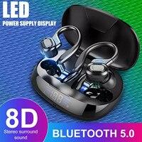 TWS Bluetooth 5,0 Kopfhörer Wasserdichte Led-anzeige 8D HD HiFi Deep Bass Stereo Surround Sound Drahtlose Ohrhörer Mit Lade Box
