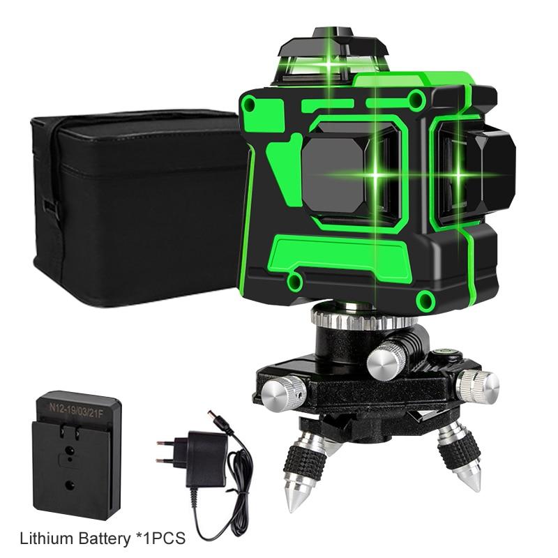 3D зеленый лазерный уровень 12 линий уровень Горизонтальные и вертикальные поперечные линии 360 Авто самонивелирующиеся зеленые лазерные линии литиевая батарея Лазерные уровни      АлиЭкспресс