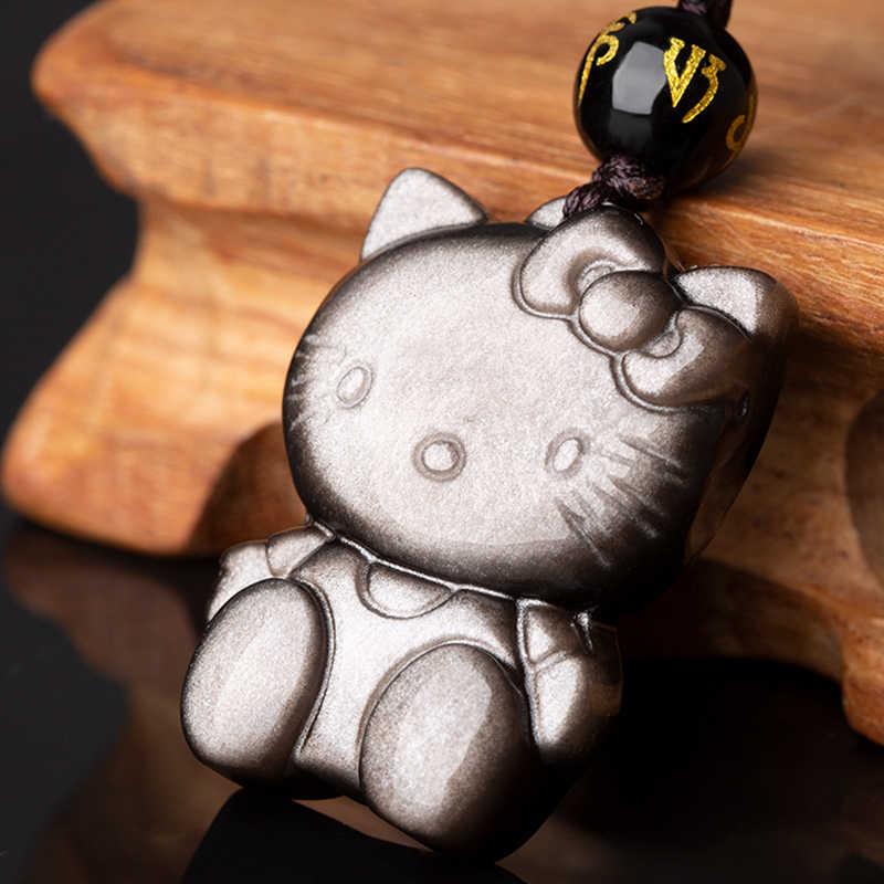 Mặt Dây Chuyền Hello Kitty Trang Sức Đá Tự Nhiên Vàng Bạc Obsidian May Mắn Mặt Dây Chuyền Hello Kitty Nữ Vòng Cổ Hạt Charm Thả Vận Chuyển