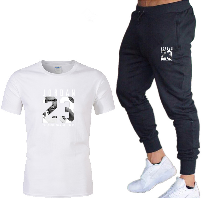Track Suit Male 2020 New Sportswear Suit Fitness Summer Printed Shorts + T-shirt Men Suit 2 Piece Set