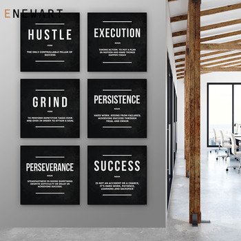 Classic Positive Quotes Wall Art Canvas Painting Execution Hustle Definition Posters and Prints Pictures for Office Study Room image