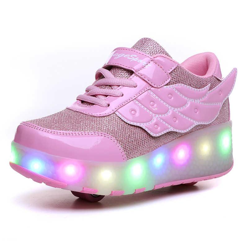 Niños uno dos ruedas luminosas zapatillas brillantes oro rosa Led luz patín Zapatos niños zapatos Led niños niñas USB de carga