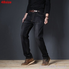 Autumn elastic tight belt oversized jeans male loose large size casual stretch 48 46 44 42 40 extra large size mens pants